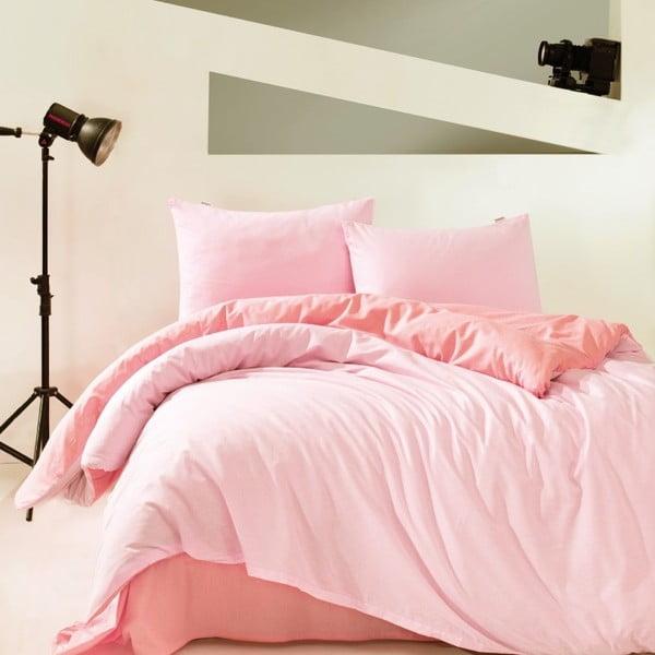 Lenjerie de pat din bumbac ranforce cu cearșaf Farley, 200 x 220 cm