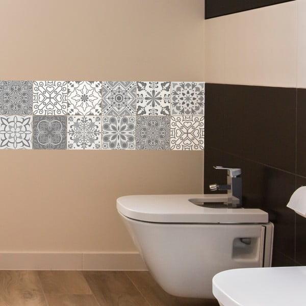 Sada 12 nástěnných samolepek Ambiance Wall Decal Tiles Grey and White Torino, 20 x 20 cm