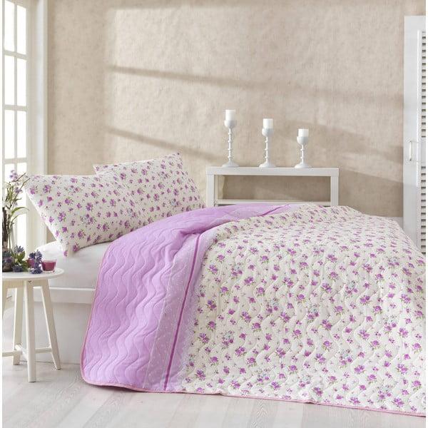 Sada přehozu a povlaků na polštáře Fresh Pink, 200x220 cm