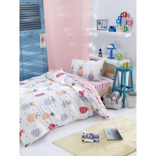 Lenjerie de pat din bumbac ranforce pentru pat de 1 persoană Mijolnir Iva Mix, 140 x 200 cm