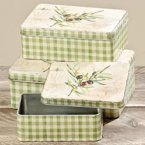 Sada 3 úložných boxů Boltze Olive