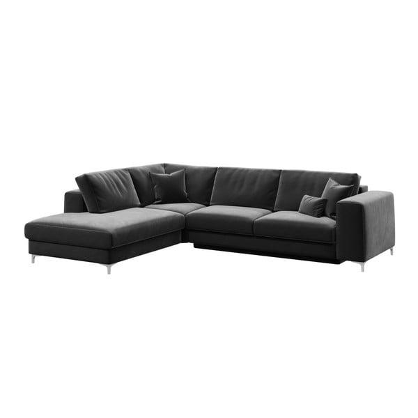 Canapea extensibilă cu șezlong pe partea stângă devichy Rothe, gri închis