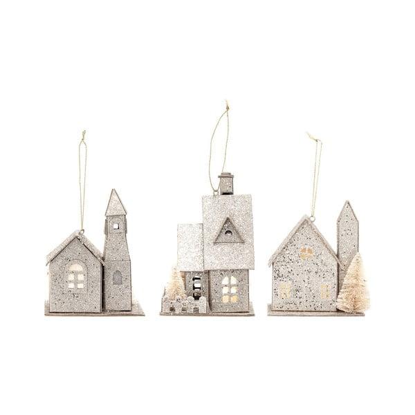 Set 3 decorațiuni suspendate din hârtie, în formă de căsuțe Bloomingville Ornament