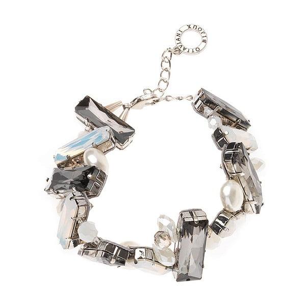 Bílo-šedý náramek se skleněnými krystaly Ottaviani Tresór