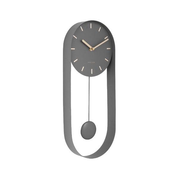 Sivé kyvadlové nástenné hodiny Karlsson Charm