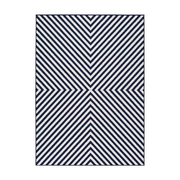 Covor pentru exterior Universal Cannes Hypnotic, 150 x 80 cm, albastru-alb