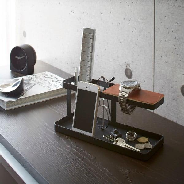 Černý multifunkční stojánek s detailem z bukového dřeva YAMAZAKI Tower Desk Bar