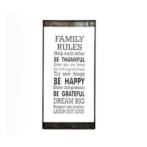 Skleněná tabulka s nápisem Family Rules, 20x40 cm