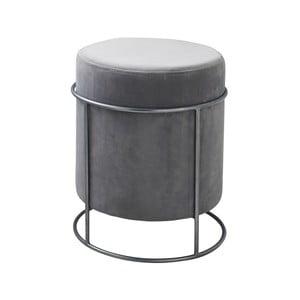Světle šedý čalouněný puf Native Stack, ⌀37 cm
