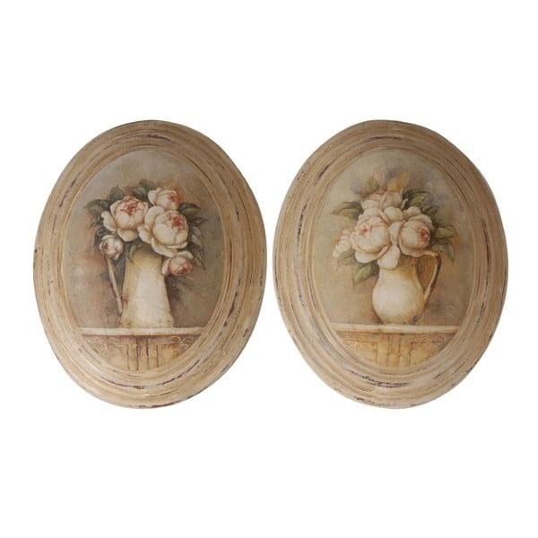 Zestaw 2 obrazów Antic Line Médaillon Roses,27x32cm