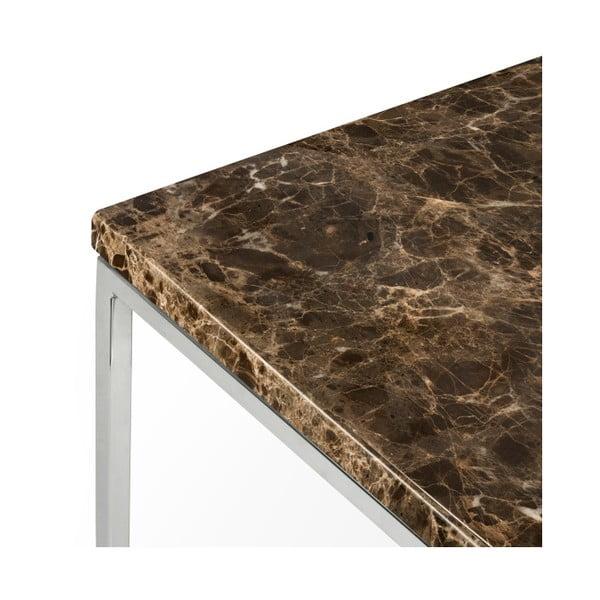 Hnědý mramorový konferenční stolek s chromovými nohami TemaHome Gleam, 50 cm