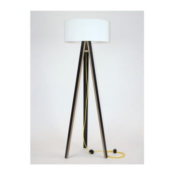 Lampadar cu abajur alb și cablu auriu Ragaba Wanda, negru imagine