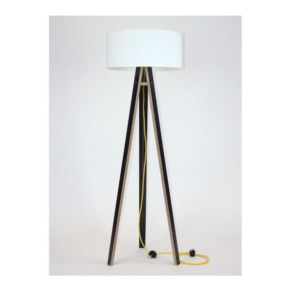 Wanda fekete állólámpa, fehér búrával és sárga kábellel - Ragaba