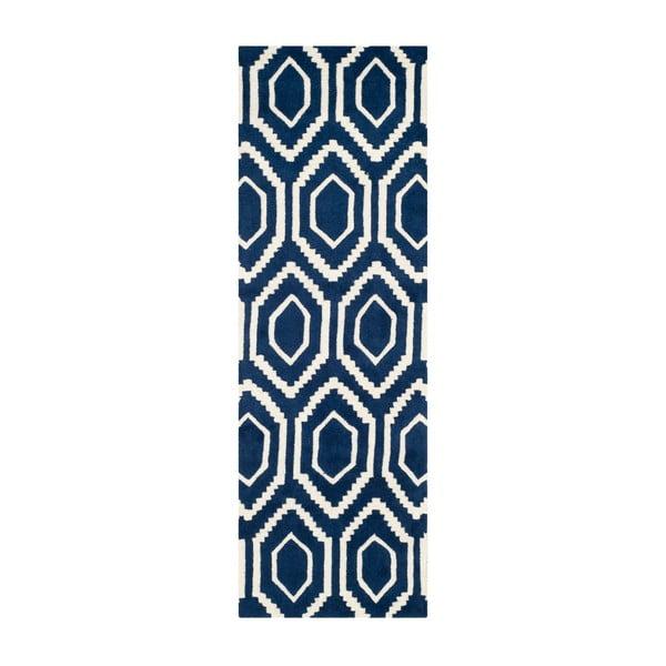 Vlněný koberec Essex Navy, 68x213 cm