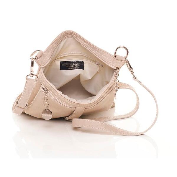 Béžová kožená kabelka Federica Bassi Hadar