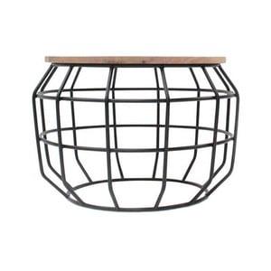 Černý příruční stolek s deskou z mangového dřeva LABEL51 Pixel, Ø56 cm