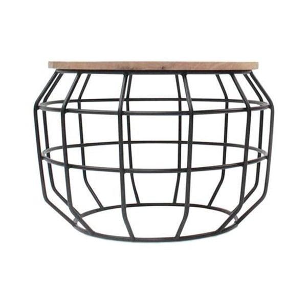 Černý příruční stolek s deskou z mangového dřeva LABEL51 Pixel, ⌀56 cm
