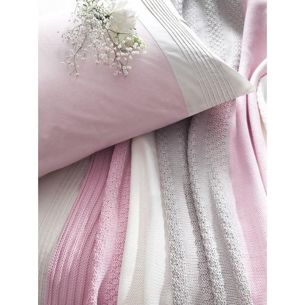 Povlečení Pink and Grey s prostěradlem a přehozem, 160x220 cm