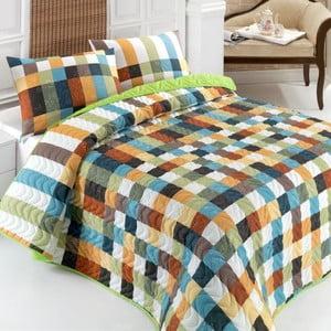 Sada prošívaného přehozu přes postel a polštáře Frame Green, 160x220 cm