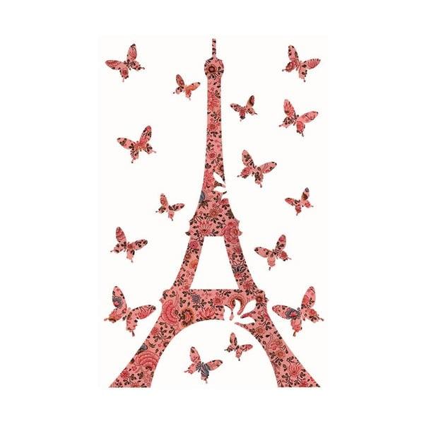 Samolepka na zeď Pink Flowers Eiffel, 20x30 cm