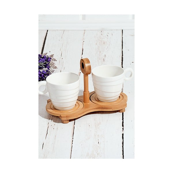Bambusový podnos s 2 porcelánovými šálky Drink, 25 x 14 cm