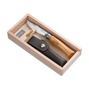 Dárkový set - skládací nůž Inox no.8 Olive a kožené pouzdro