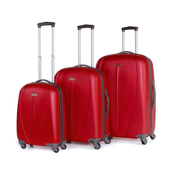 Sada 3 kufrů Tempo, jahodově červená