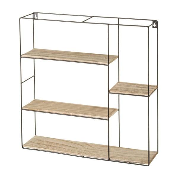 Półka z metalową konstrukcją i drewna paulownia Unimasa Quadro
