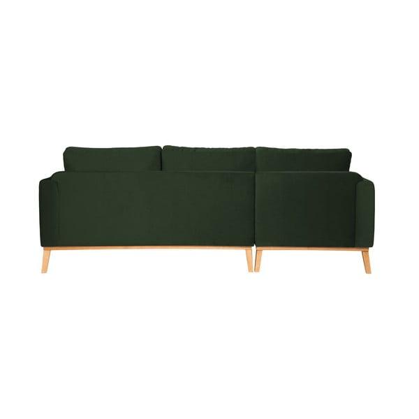Tmavě zelená 3místná sedačka levý roh Vivonita Milton Trend