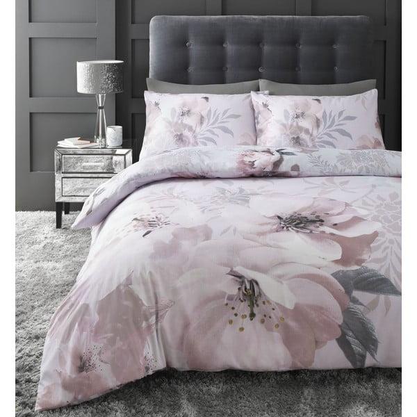 Różowa pościel Catherine Lansfield Dramatic Floral, 135x200 cm