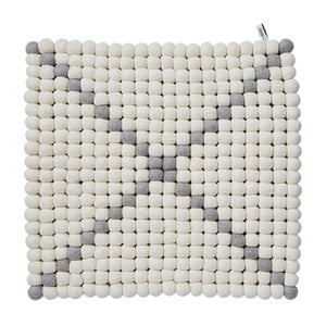 Modulový koberec Wool Mat White/Grey, 40x40 cm