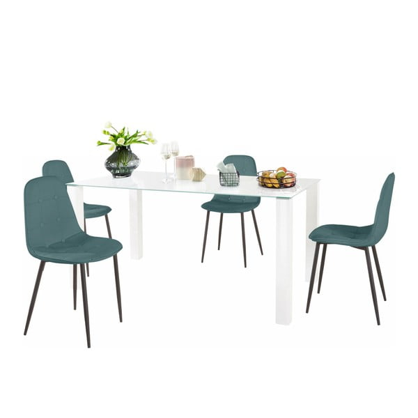 Sada jídelního stolu a 4 tyrkysových židlí Støraa Dante, délka stolu 160cm