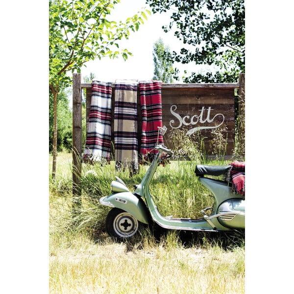 Červený kostkovaný pléd s podílem bavlny Euromant Scott, 140x180cm