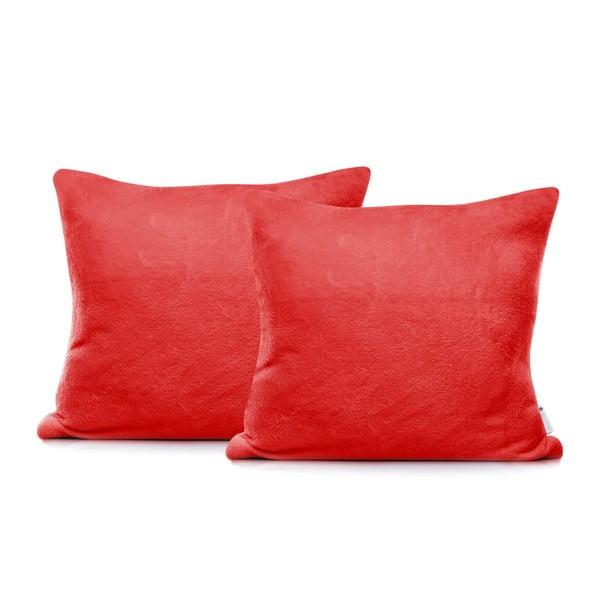 Set 2 fețe de pernă din bumbac DecoKing Mic, 45 x 45 cm, roșu