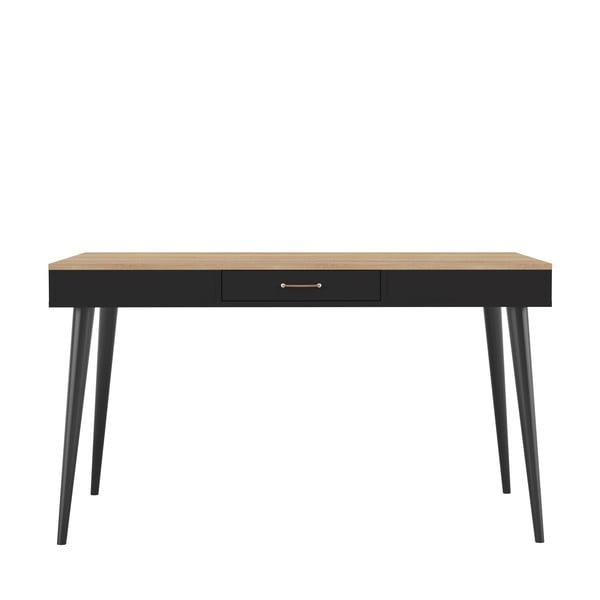 Černý jídelní stůl v dekoru dubového dřeva Symbiosis Horizon