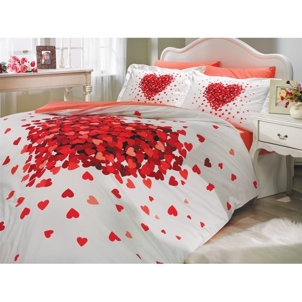 Lenjerie de pat și cearșaf din bumbac poplin Juana Red, 200 x 220 cm
