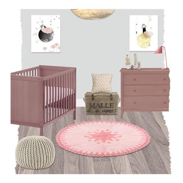 Dětský růžový koberec Nattiot Warren, ∅110cm