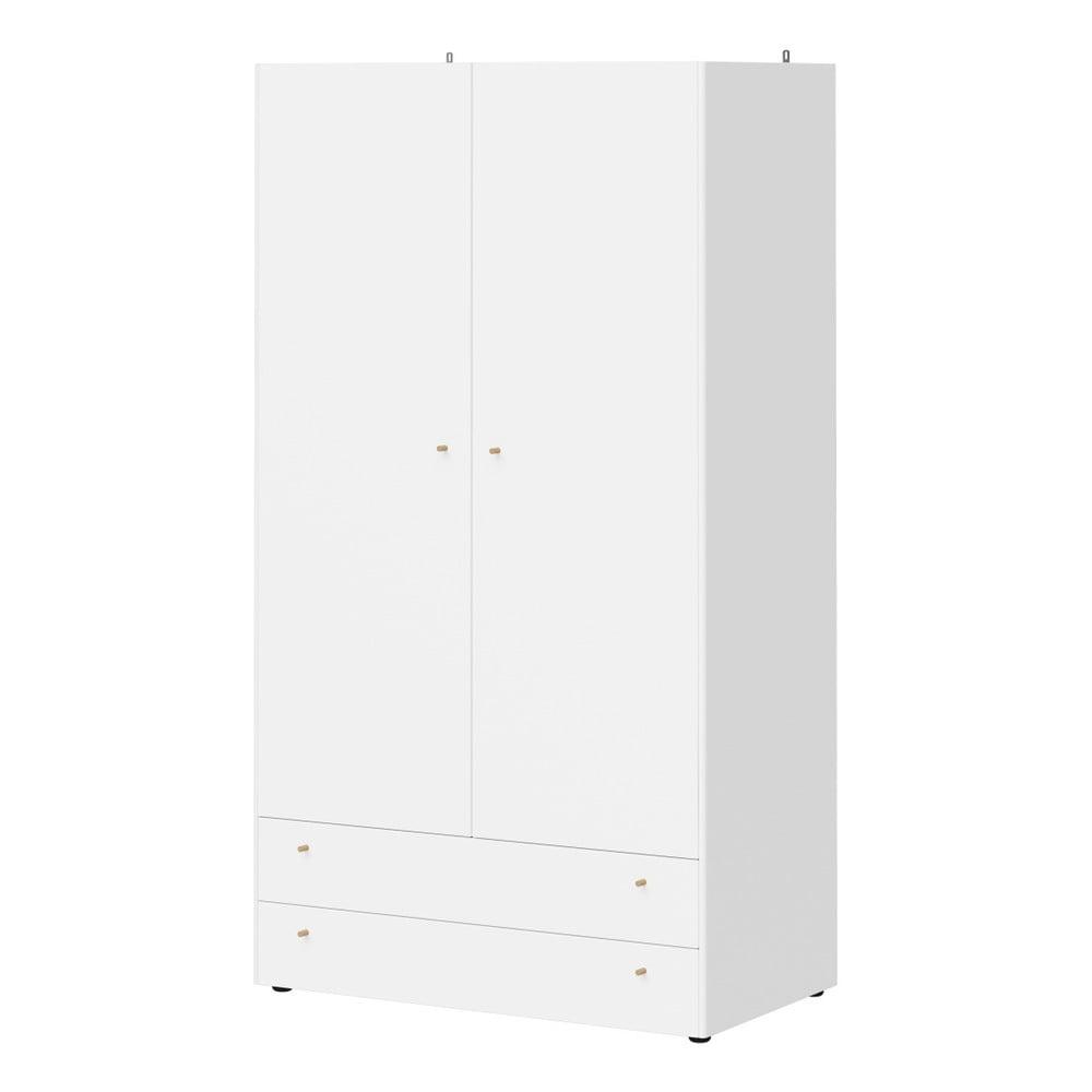 Bílá šatní skříň se 2 zásuvkami Germania Monteo