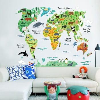 Autocolant de perete pentru camera copiilor Ambiance World Map, 73 x 95 cm imagine