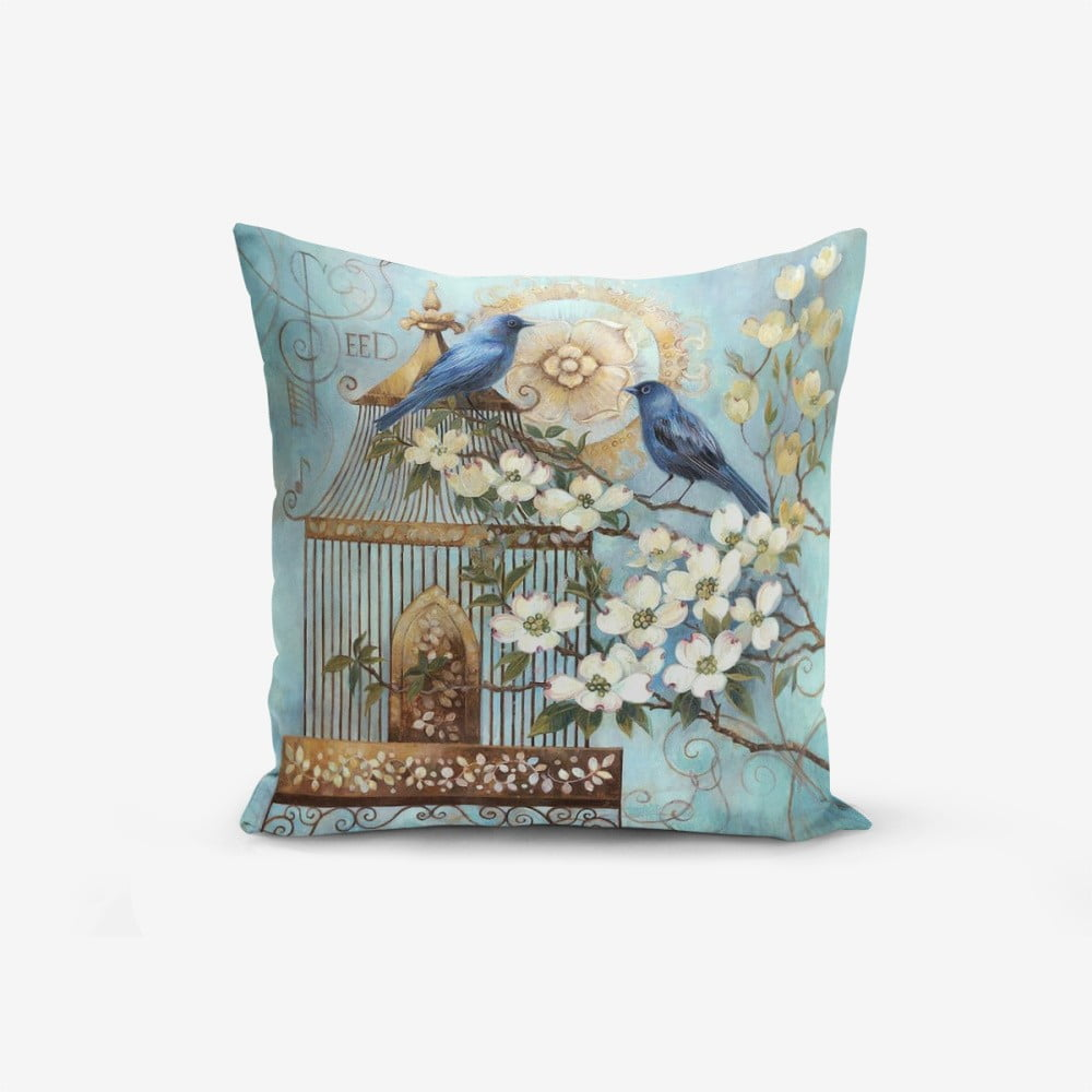 Povlak na polštář s příměsí bavlny Minimalist Cushion Covers Blue Bird, 45 x 45 cm