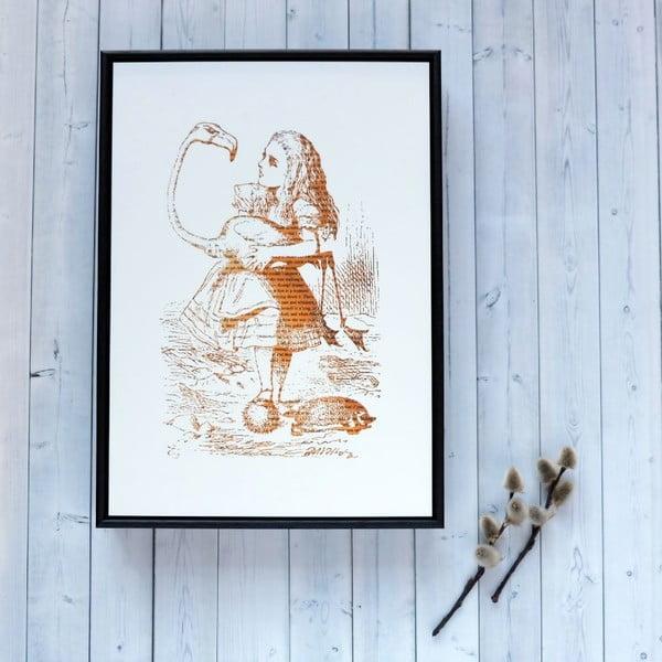 Plakát v dřevěném rámu Alice in Wonderland Flamingo