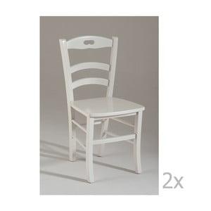 Set 2 scaune de bucătărie din lemn Castagnetti Pranzo, alb