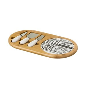 Set 3 nožíků na sýry a podnosu z bambusu a porcelánu Unimasa