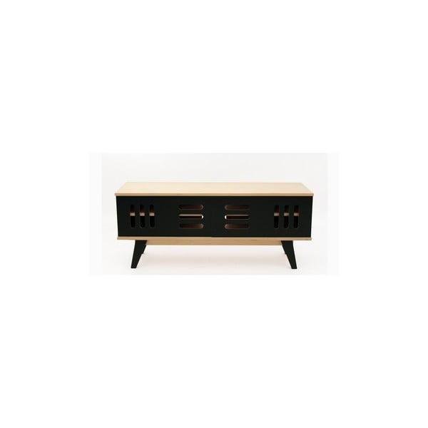 Televizní stolek s černými posuvnými dvířky Radis Huh