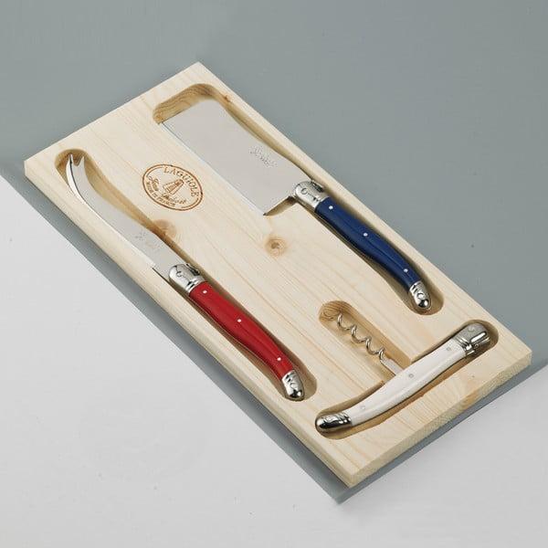 Sada 3 príborov na syry z antikoro ocele v drevenom balení Jean Dubost Paris