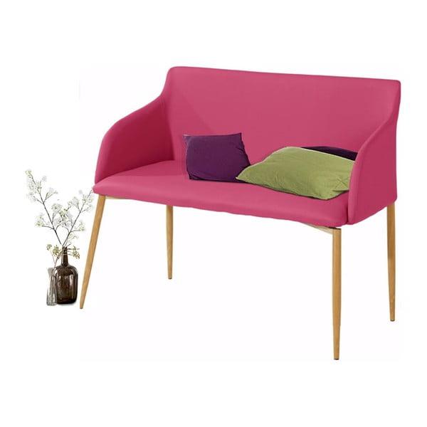 Růžová lavička s dřevěnými nohami Støraa Nimbus