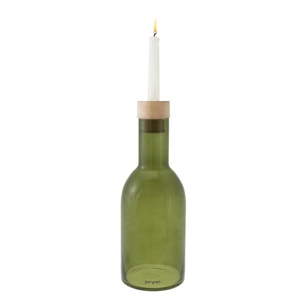 Váza/svícen Bottle 30,5 cm, zelená
