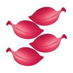 Sada 4 červených silikonových víček na sklenice Koziol Leaf
