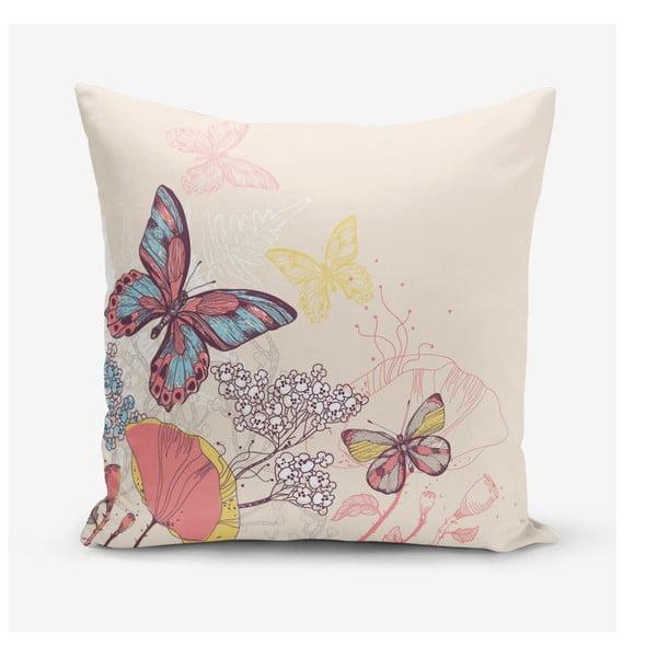 Povlak na polštář s příměsí bavlny Minimalist Cushion Covers Butterflies, 45 x 45 cm