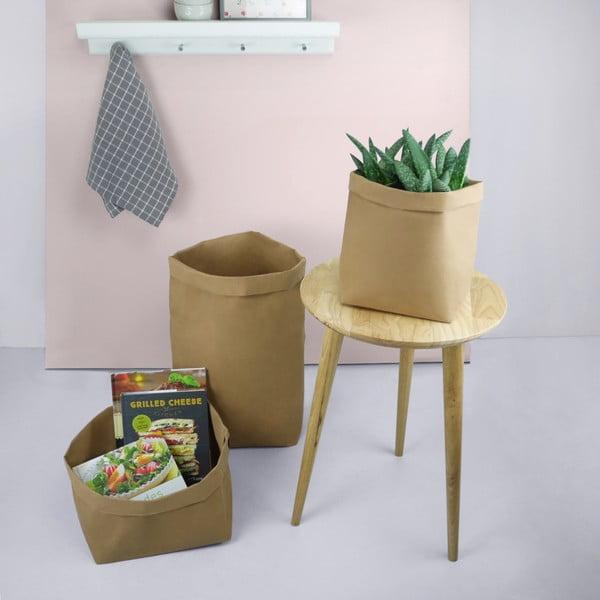 Suport pentru ghiveci din hârtie lavabilă Furniteam Plant, înălțime 27 cm, maro